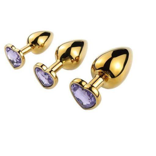 differentes tailles plug anal doré coeur violet