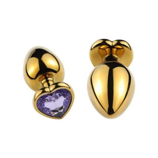 plug anal doré coeur violet