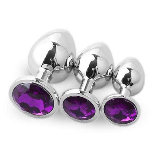 plug anal en acier diamant violet