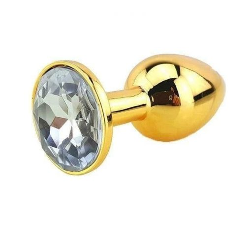 Plug Anal Métal Or Diamant Blanc