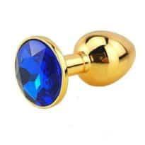 Plug Anal Métal Or Diamant Bleu