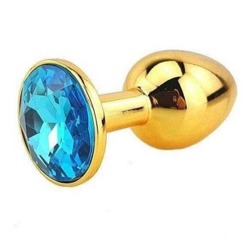 Plug Anal Métal Or Diamant Bleu couleur turquoise