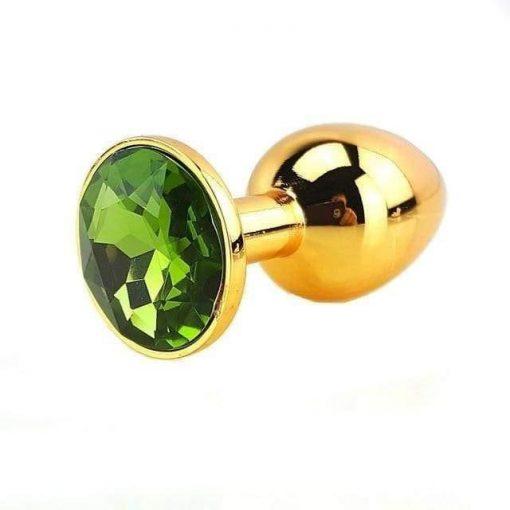 Plug Anal Métal Or Diamant Vert