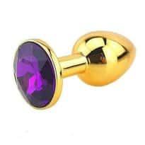 Plug Anal Métal Or Diamant Violet