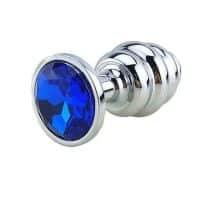 plug anal acier bijou bleu spiral