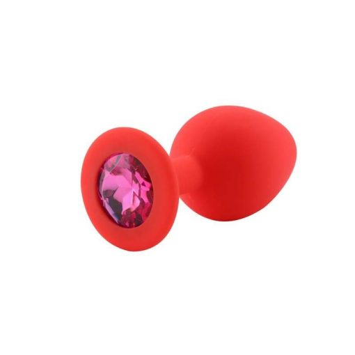 Plug Anal Silicone Rouge Diamant Rose