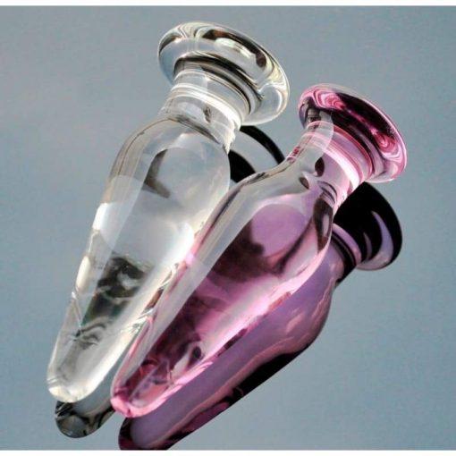 plug anal verre long rose transparent